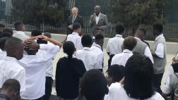Senator Bradford addressing and welcoming the young men on their first day back to school with LAUSD School Board Member George McKenna