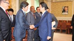Senate Delegation is greeted by Japanese Prime Minister Shinzo Abe