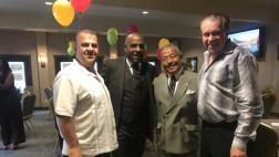 Senator Bradford with member of business community, Councilman Art Kaskanian and Councilman Rodney Tanaka.