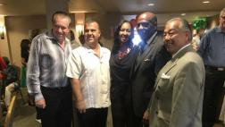 Senator Bradford with member of Gardena business community, Councilman Art Kaskanian, President of Gardena Chamber Wanda Love and Councilman Rodney Tanaka.