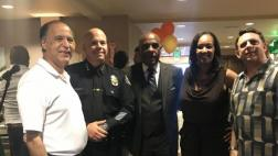 Senator Bradford with members of the Gardena business community, President of Gardena Chamber Wanda Love, and Gardena Police Chief Ed Medrano.
